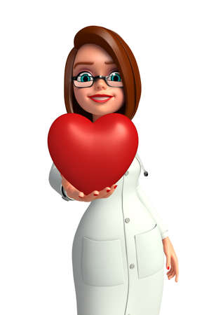 Illustration of young doctor with heart