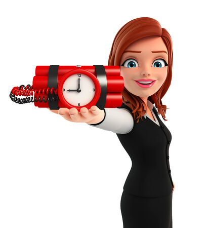 human time bomb: Illustration of young Business Woman with time bomb Stock Photo