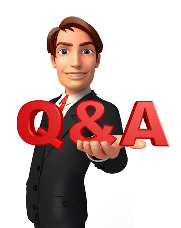 welcoming: Illustration of Young Business Man with Q & A