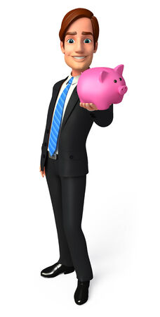 welcoming: Illustration of Young Business Man with piggy bank Stock Photo