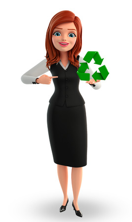 Illustration of young Business Woman with recycle icon illustration