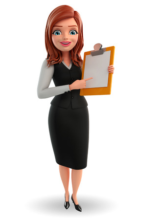 writting: Illustration of young Business Woman with notepad Stock Photo