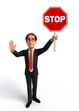 people holding sign: Illustration of Young Business Man with Stop sign