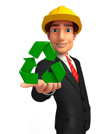 welcoming: Illustration of Young Business Man with recycle icon Stock Photo