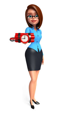 human time bomb: Illustration of young office girl with bomb