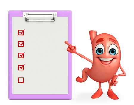alimentary: Cartoon Character of stomach with notepad Stock Photo