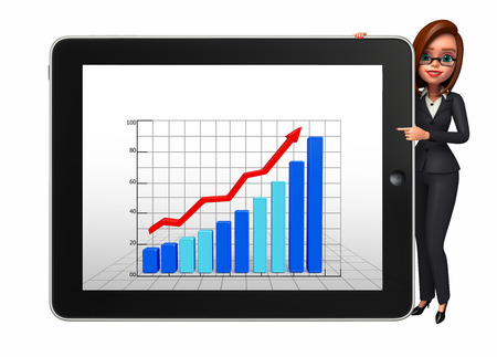 achivement: Illustration of Young Business Woman with business graph Stock Photo