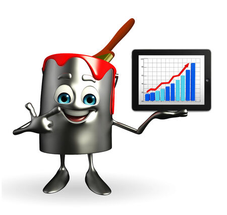 Cartoon Character of paint bucket with Business graph photo