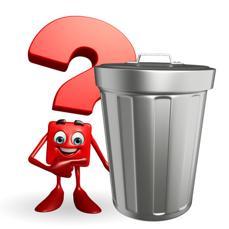 polution: Cartoon Character of Question Mark with dustbin