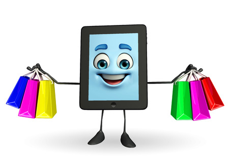 Cartoon character of tab with shopping bags photo