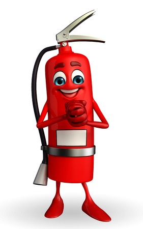 truthful: Cartoon Character of fire extinguisher with promise pose
