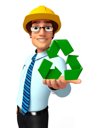 service man: Illustration of service man with recycle icon Stock Photo