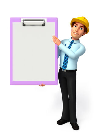 welcoming: Illustration of service man with notepad
