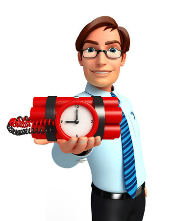 human time bomb: Illustration of service man with time bomb Stock Photo