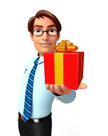 Illustration of service man with gift box illustration