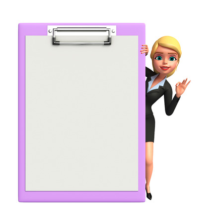 Illustration of Young Business Woman with notepad