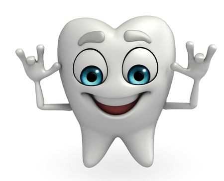 teasing: Cartoon character of teeth is teasing Stock Photo