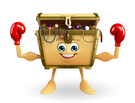 thesaurus: Cartoon Character of Treasure box with boxing glove