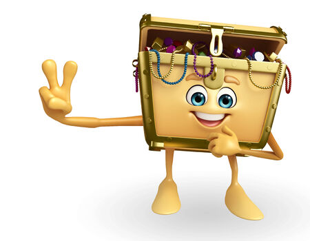 thesaurus: Cartoon Character of Treasure box with victory pose