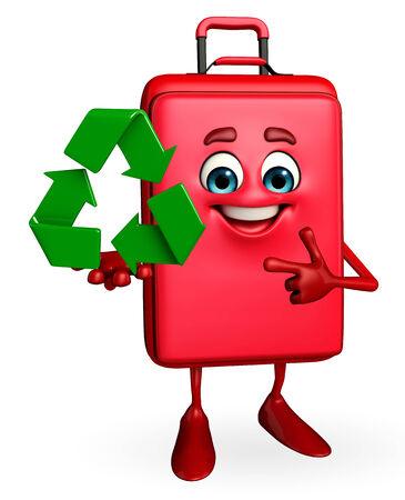 Cartoon Character of Travelling Bag with recycle icon photo