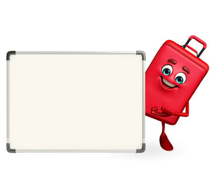 leather bag: Cartoon Character of Travelling Bag with display board