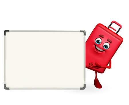 bag cartoon: Cartoon Character of Travelling Bag with display board