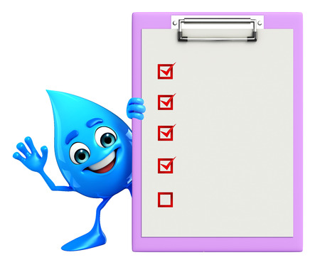 cooled: Cartoon Character Of Water Drop with notepad