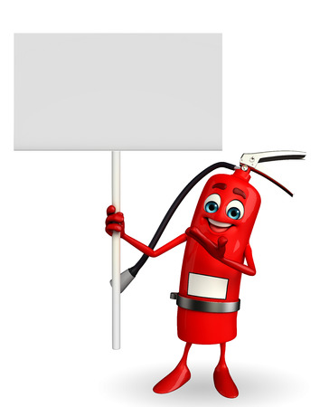 disaster prevention: Cartoon Character of fire extinguisher with sign