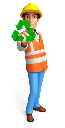Illustration of young worker with recycle icon illustration