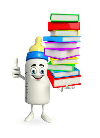 Cartoon Character of baby bottle with Books pile photo