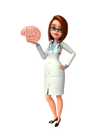 Illustration of young doctor with brain anatomy illustration