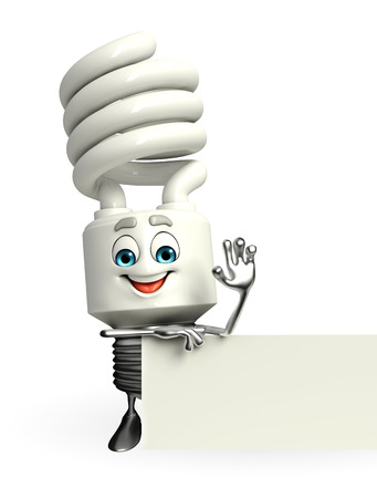 Cartoon Character of CFL with sign