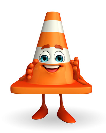 road works ahead: Cartoon Character of Construction cone with Stock Photo