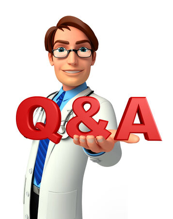 health answers: Illustration of young doctor with Q & A