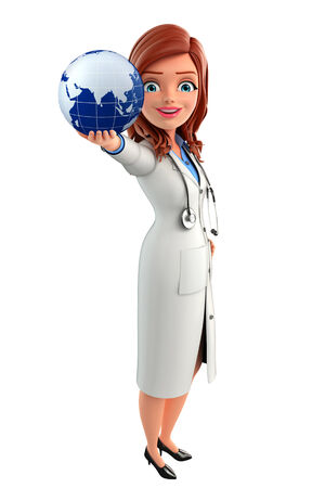 Illustration of Young Doctor with globe illustration