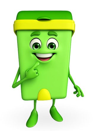 keep clean: Cartoon Character of Dustbin with shy pose