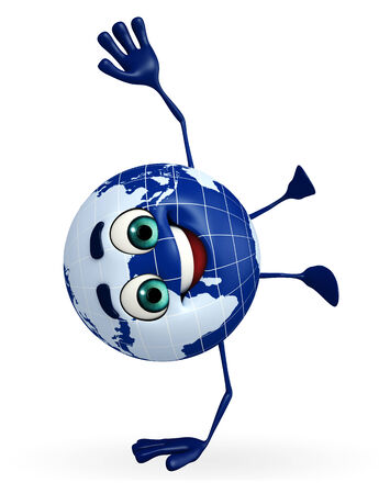 Cartoon Character of Globe is jumping photo