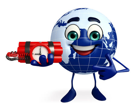 time bomb: Cartoon Character of Globe with Time bomb Stock Photo