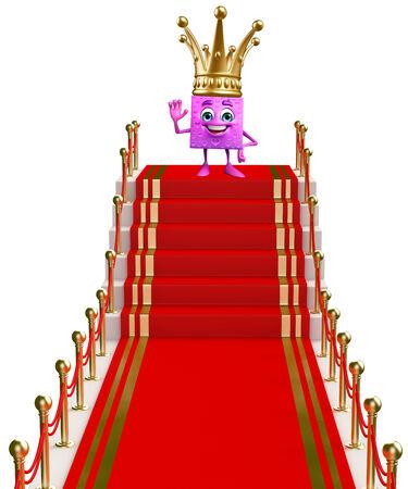 velvet ribbon: Cartoon Character of gift box on the red carpet