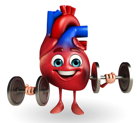 Cartoon Character of heart with dumbbells photo