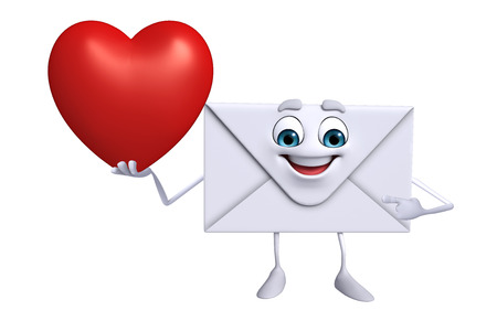 Cartoon Character of mail with red heart photo