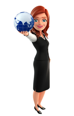 Illustration of young Business Woman with globe illustration