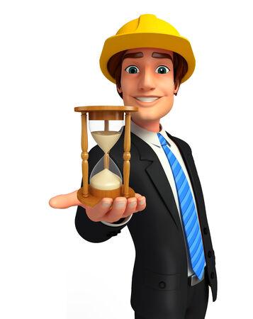 sand clock: Illustrazione di giovane uomo di affari con l'orologio della sabbia