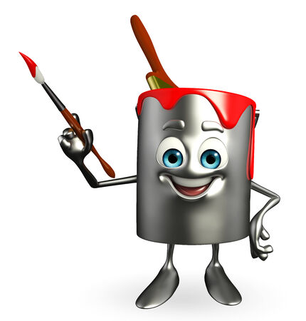 Cartoon Character of paint bucket with paint brush photo