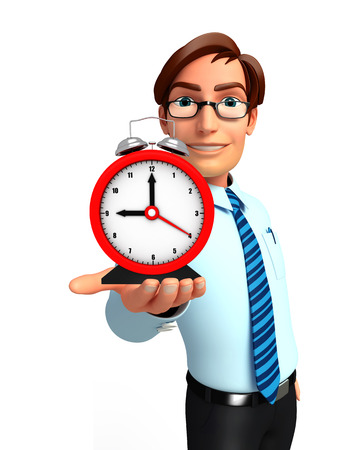 service man: Illustration of service man with table clock