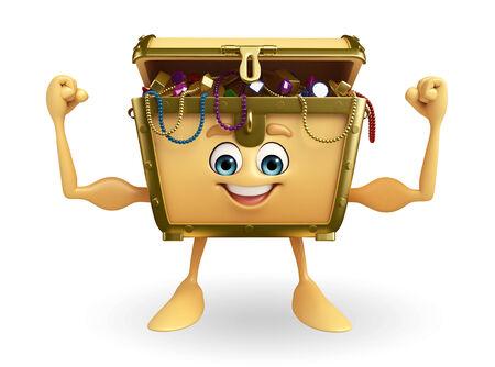Cartoon Character of Treasure box is bodybuilding photo