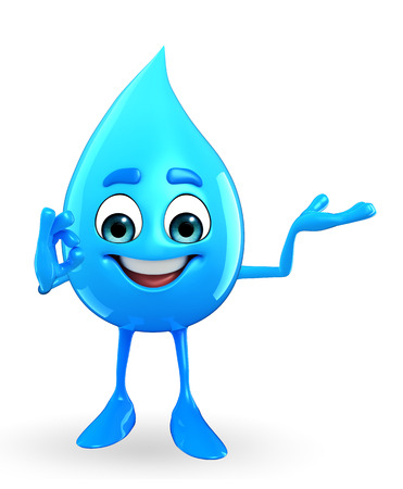Cartoon Character Of Water Drop with best sign