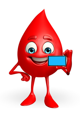 blood drop: Cartoon Character of Blood Drop with mobile