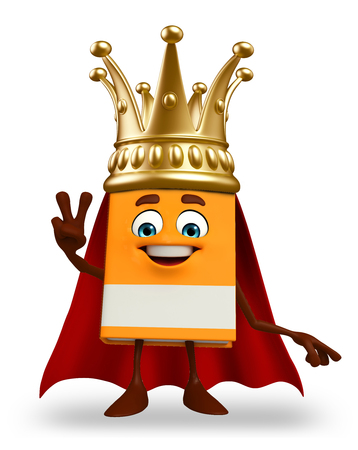 Cartoon Character of super Book with crown photo