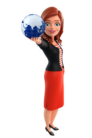 Illustration of corporate lady with globe illustration